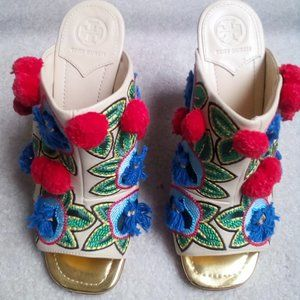 Tory Burch Ellis Embroidered Pom Pom Mules NEW